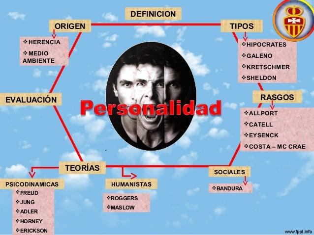 DEFINICION ORIGEN TIPOS RASGOS TEORÍAS EVALUACIÓN HIPOCRATES GALENO KRETSCHMER SHELDON ALLPORT CATELL EYSENCK COST...