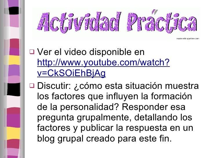 <ul><li>Ver el video disponible en  http://www.youtube.com/watch?v=CkSOiEhBjAg </li></ul><ul><li>Discutir: ¿cómo esta situ...