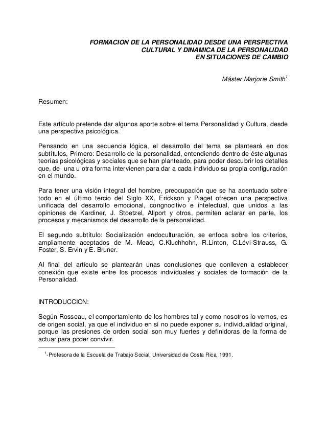 FORMACION DE LA PERSONALIDAD DESDE UNA PERSPECTIVA CULTURAL Y DINAMICA DE LA PERSONALIDAD EN SITUACIONES DE CAMBIO Máster ...
