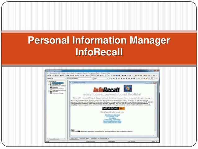 Personal Information Manager InfoRecall