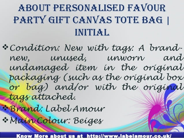 PERSONALISED Favour Party Gift Canvas Tote BagInitial