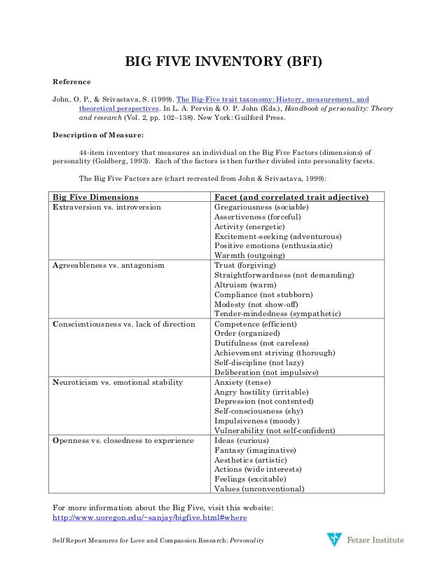 big five personality research paper A free and anonymous version of the big five personality test used by academic psychologists for personality research the test takes about 10 minutes and provides.