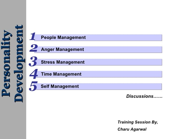 People Management  1 2 Anger Management Personality Development Time Management 4 3 Self Management 5 Discussions…… Stress...