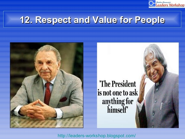 12. Respect and Value for People