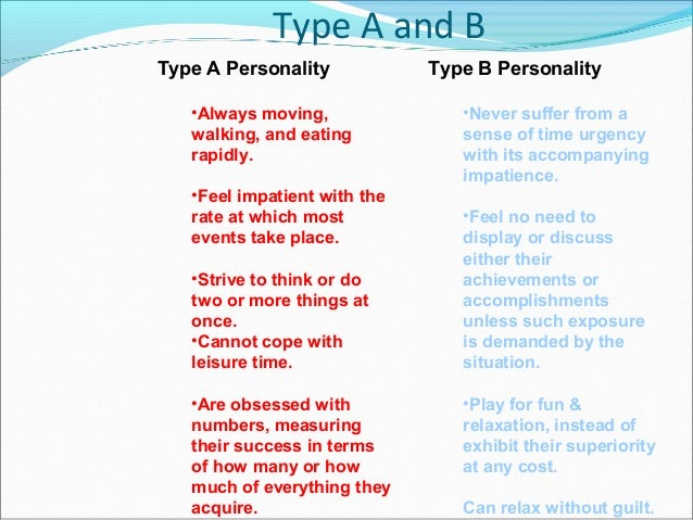 "type a and type b personality dating Understanding the 3 personality types of men  the key is for you to stay open to dating both the type a, ""affluent man"" and type b,."