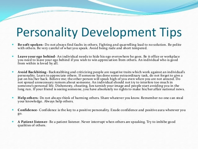 personality development lecture compila Lecture outline i  development of personality jung was unique among personality theorists with his emphasis on the second half of life he saw middle and .