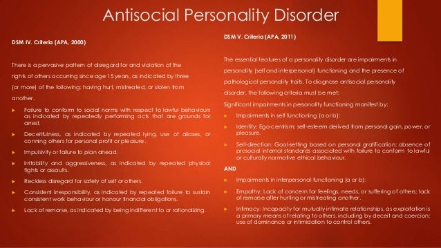antisocial personality disorder case study Case studies  case study 1 : theory of mind and mentalizing ability in antisocial personality disorders with and without psychopathy goal: the researchers investigated empathy and theory of mind in aspds.