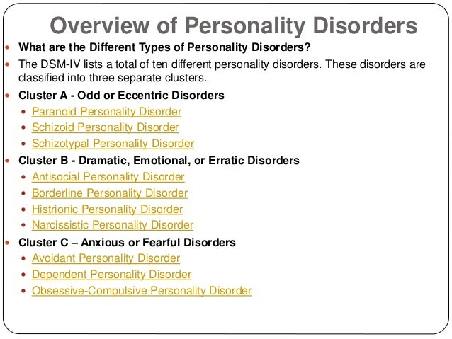 Summary of personality disorders
