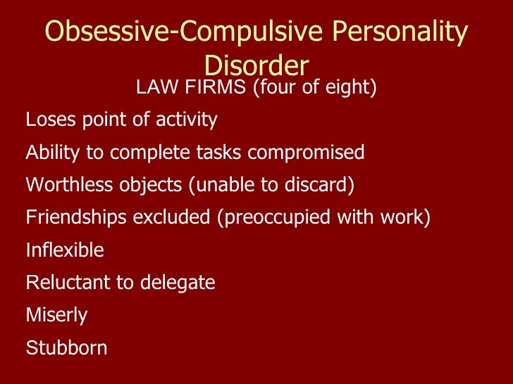 characteristics of obsessive compulsive disorder Obsessive-compulsive personality disorder (ocpd) traits and obsessive-compulsive disorder (ocd) are commonly associated with patients with anorexia nervosa (an) the.