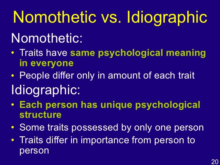 nomothetic approch to personality
