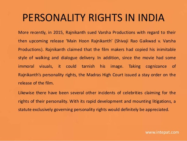 Personality Rights in India