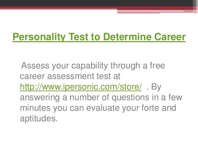 Personality Test to Determine Career - www ipersonic com