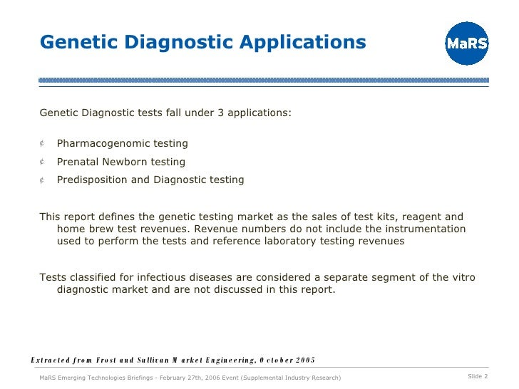 Personalized Medicine: Genetic Diagnostics Technologies Slide 2