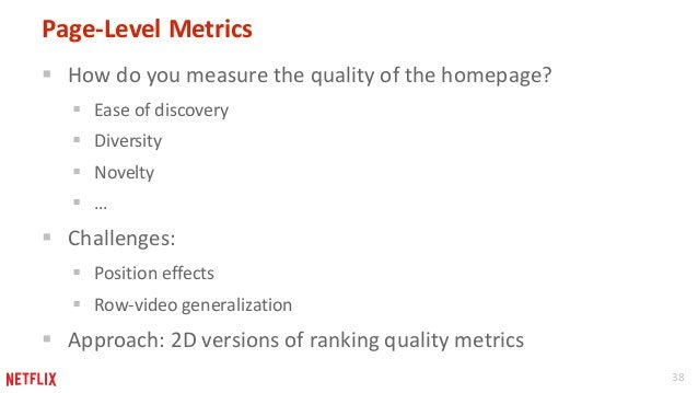 38  Page-Level Metrics   How do you measure the quality of the homepage?   Ease of discovery   Diversity   Novelty   ...