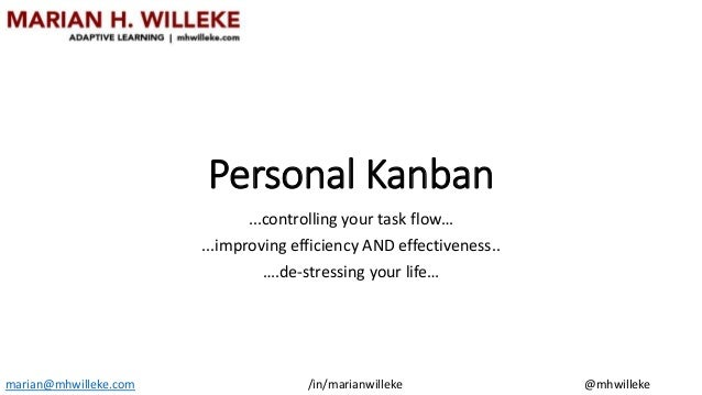 Personal Kanban ...controlling your task flow… ...improving efficiency AND effectiveness.. ….de-stressing your life… maria...