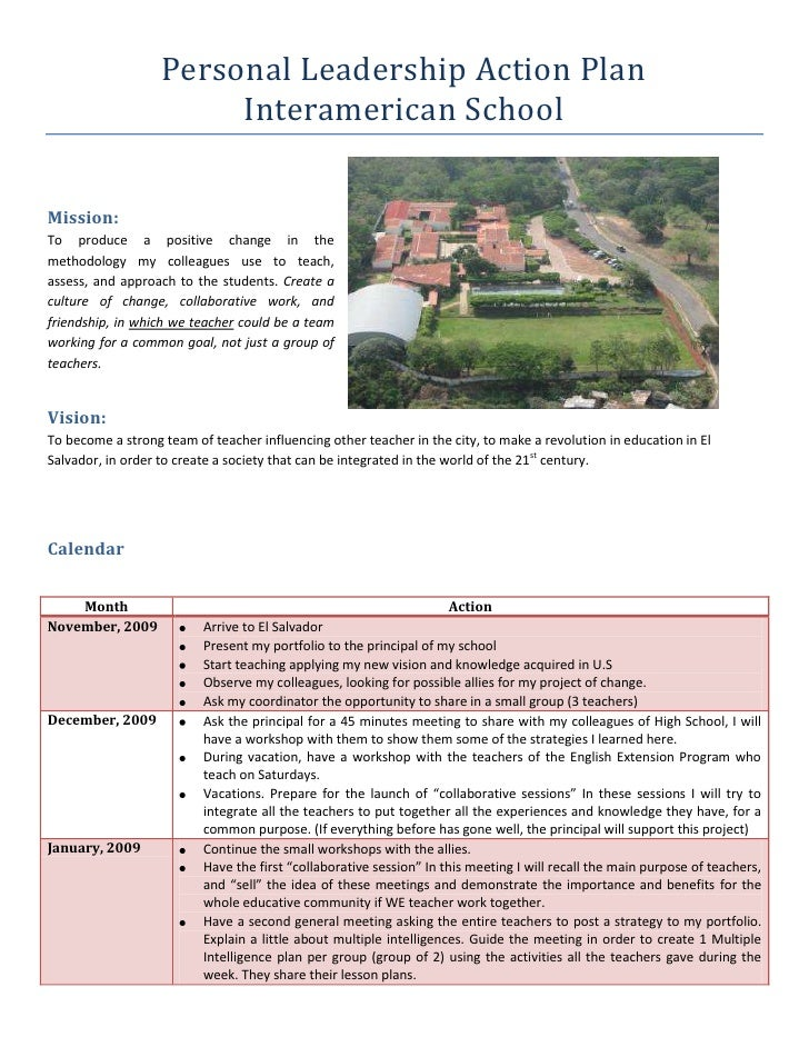 Personal Leadership Action Plan <br />Interamerican School<br />288925029845<br />Mission: <br />To produce a positive cha...