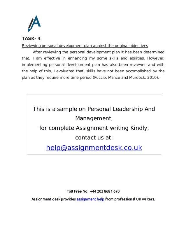 personal leadership development plan example