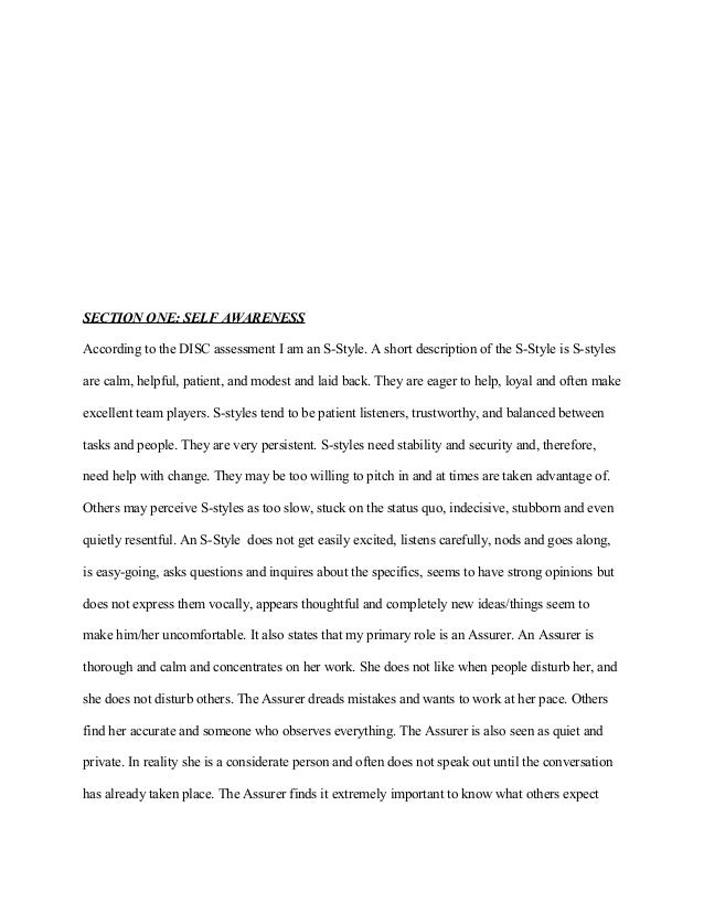self description essay