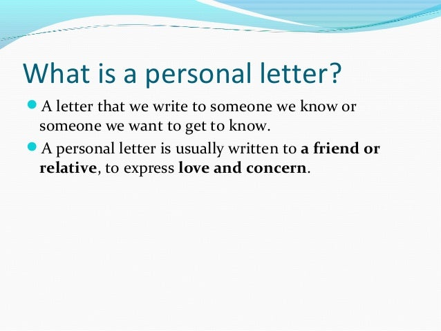 How To Write A Personal Letter