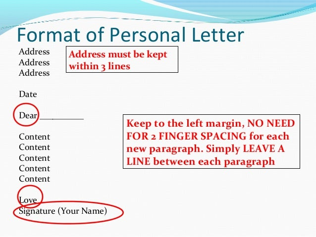 format of personal letter writing