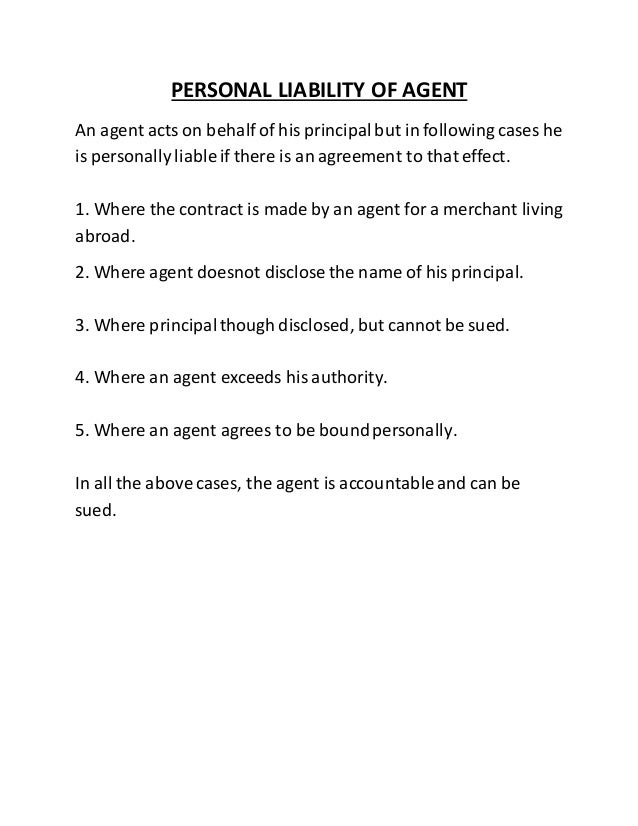 Personal liability of agent