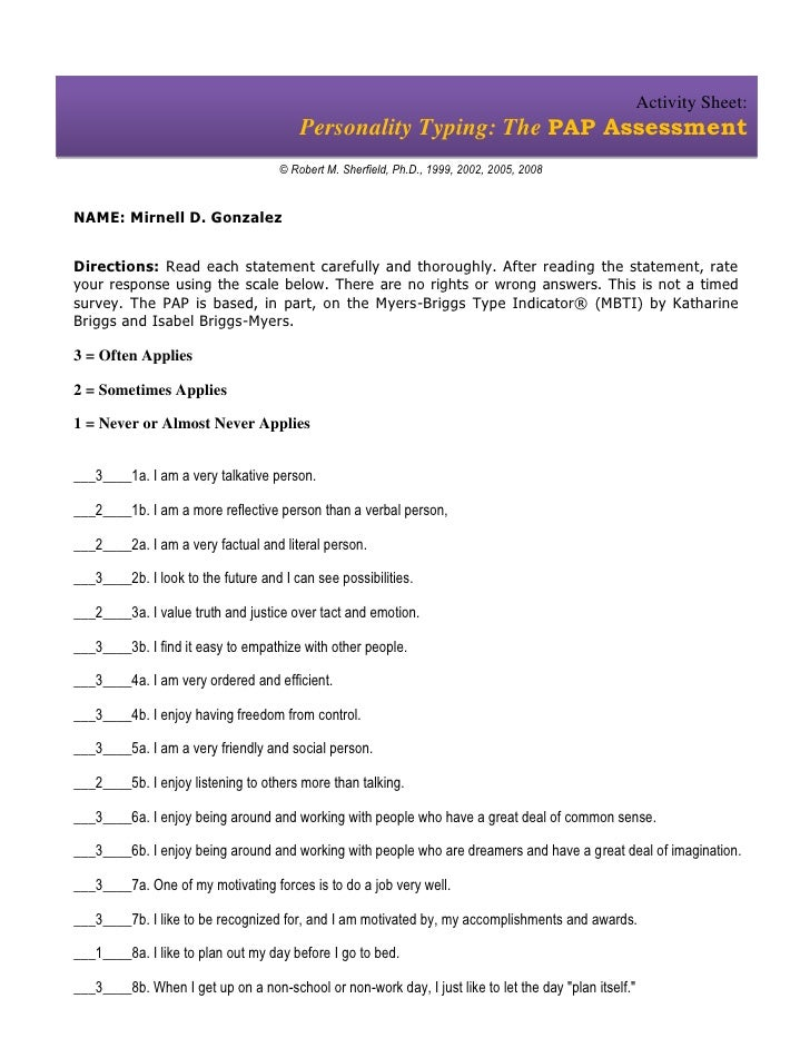 Activity Sheet:                                        Personality Typing: The PAP Assessment                             ...