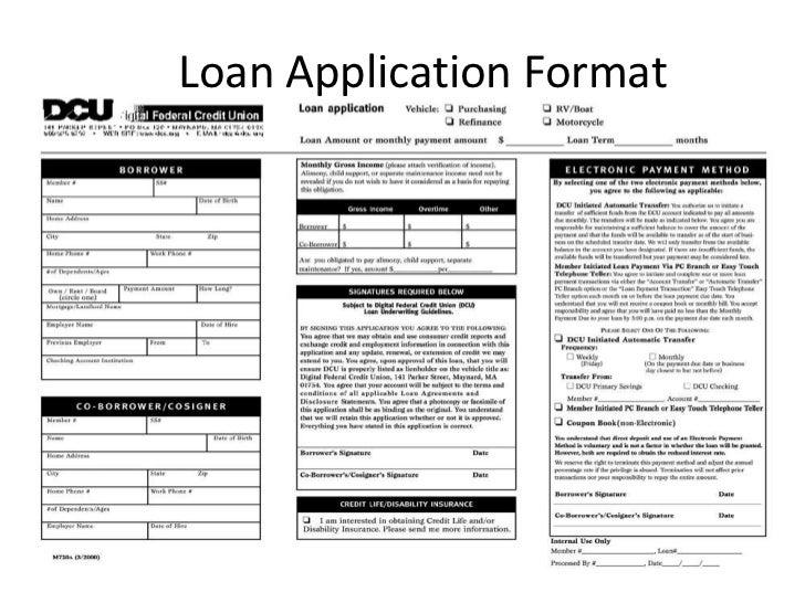 loan application format 5 documents required - Sample Loan Documents