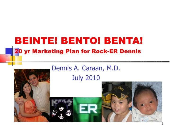 BEINTE! BENTO! BENTA! 20 yr Marketing Plan for Rock-ER Dennis Dennis A. Caraan, M.D. July 2010