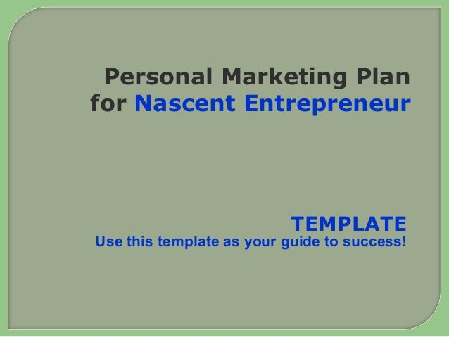 Personal marketing plan for the Small Business Owner