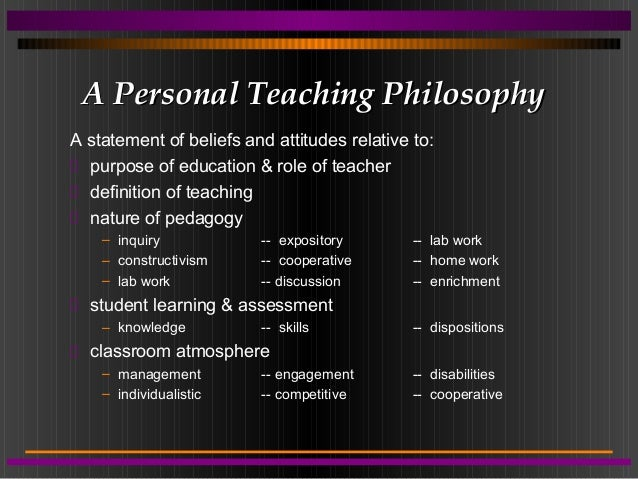 personal philosophy statement on health education I post my statement of educational philosophy philosophy the goal of education is to enrich the lives of a good life is very personal.
