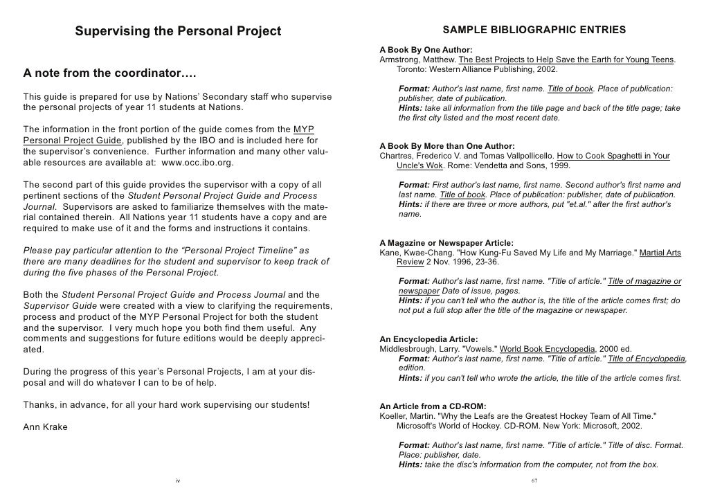 Personal Project Essay Examples Eczalinf