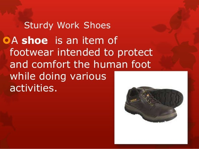 Sturdy Work Shoes A shoe is an item of footwear intended to protect and comfort the human foot while doing various activi...