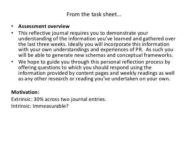 Personal Reflection Writing 1 Assessment 2 Adapted From Work By Rhonni Sasaki