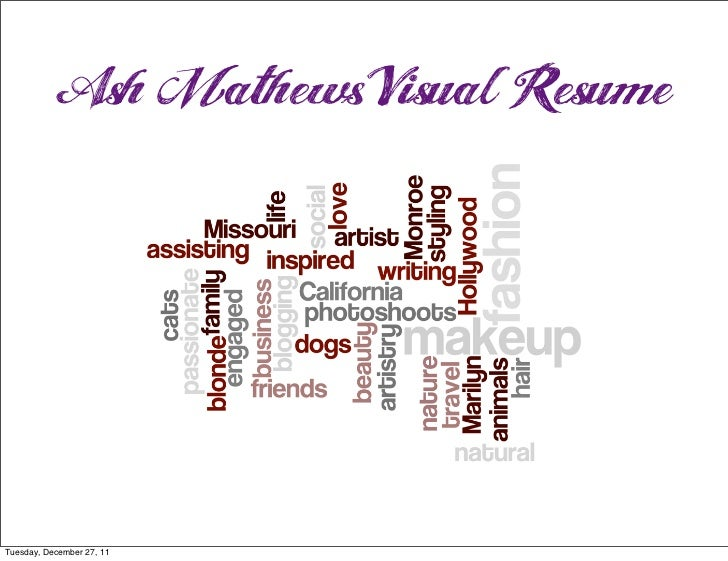Ash Mathews Visual ResumeTuesday, December 27, 11