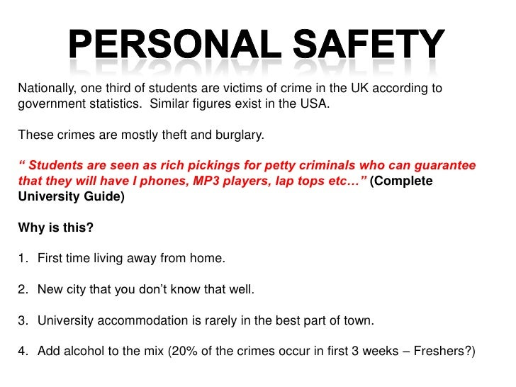 Nationally, one third of students are victims of crime in the UK according togovernment statistics. Similar figures exist ...