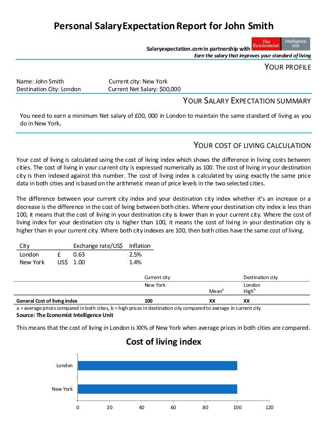 Personal Salary Expectation Report Sample