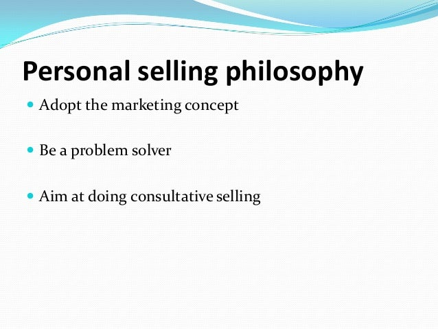 personal selling philosophy