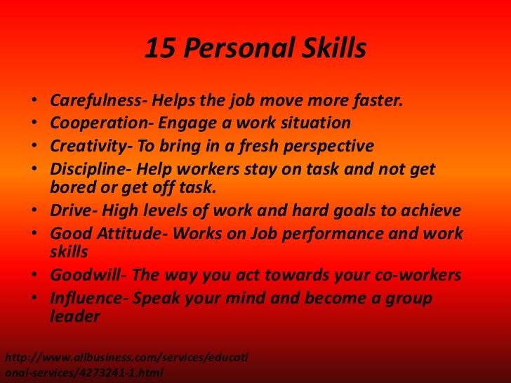 personal skills you need on the job