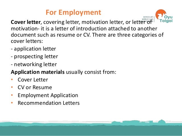 Personal Statement, Cover Letter, Recommendation Letter