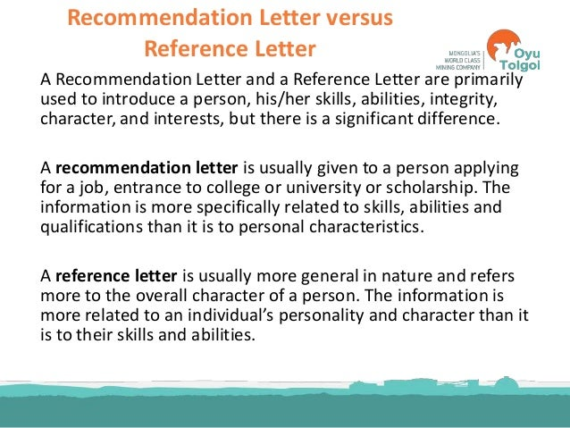 letter of recommendation vs letter of reference