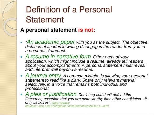 a personal statement is defined as
