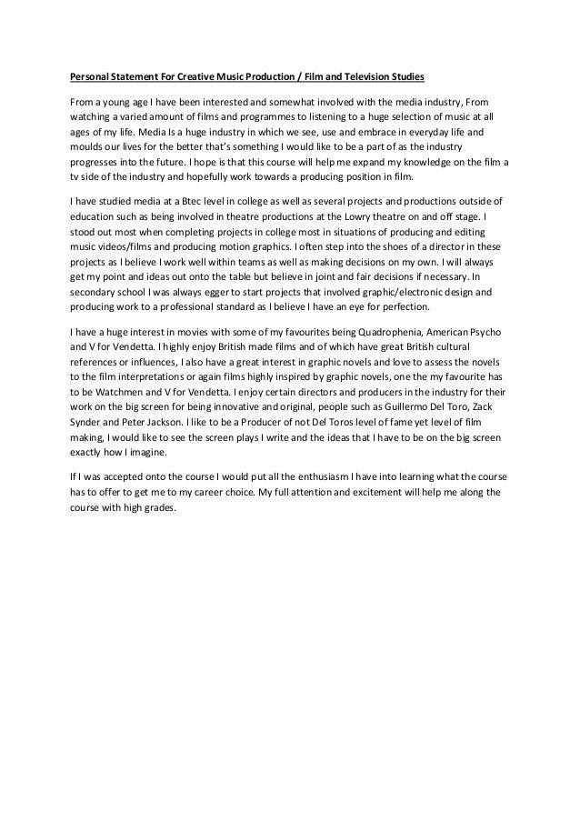 Music Personal Statement Milano Danapardaz