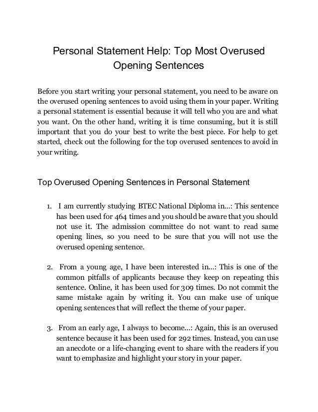 Help with writing a personal statement writing