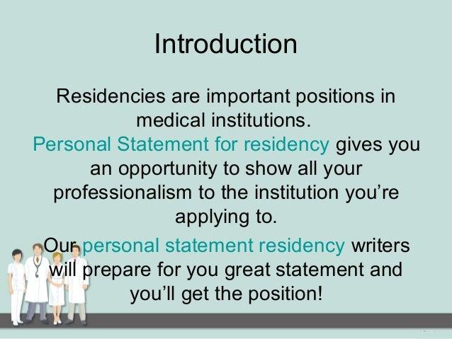 Residency Personal Statement Help