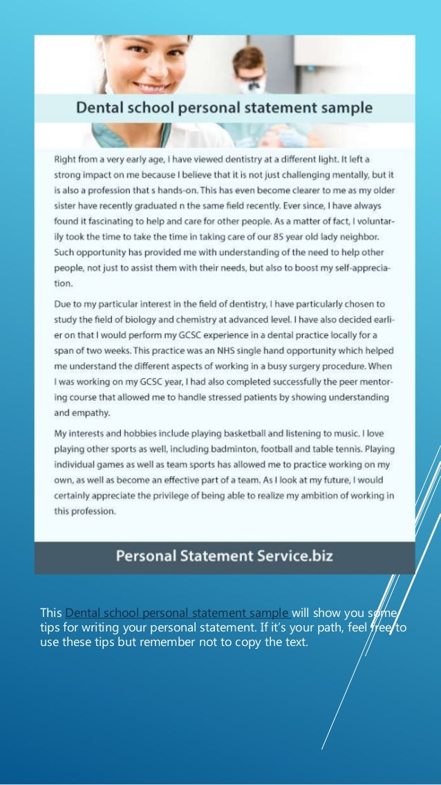 Dental personal statement services