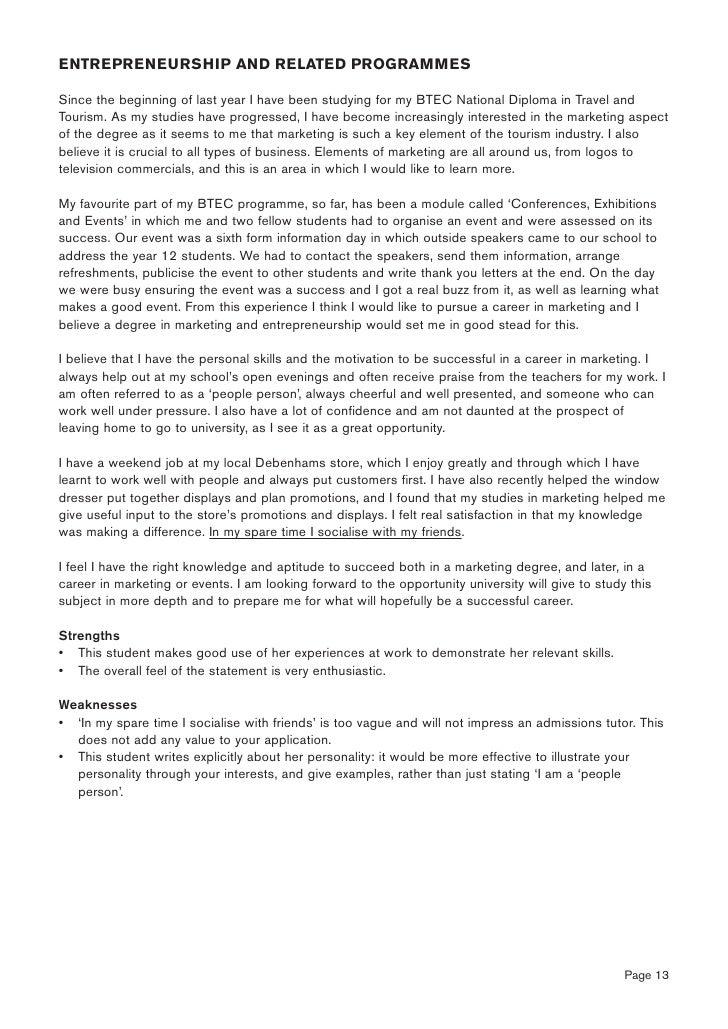 International tourism management personal statement