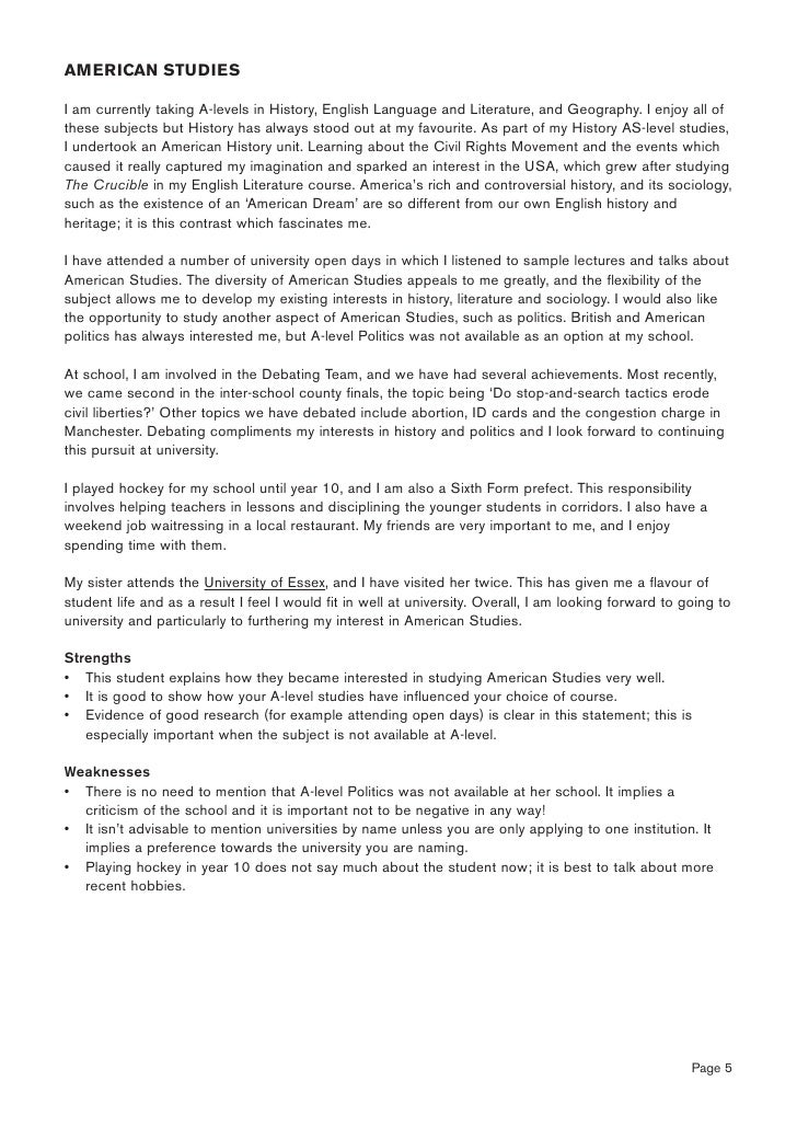 English and history personal statement