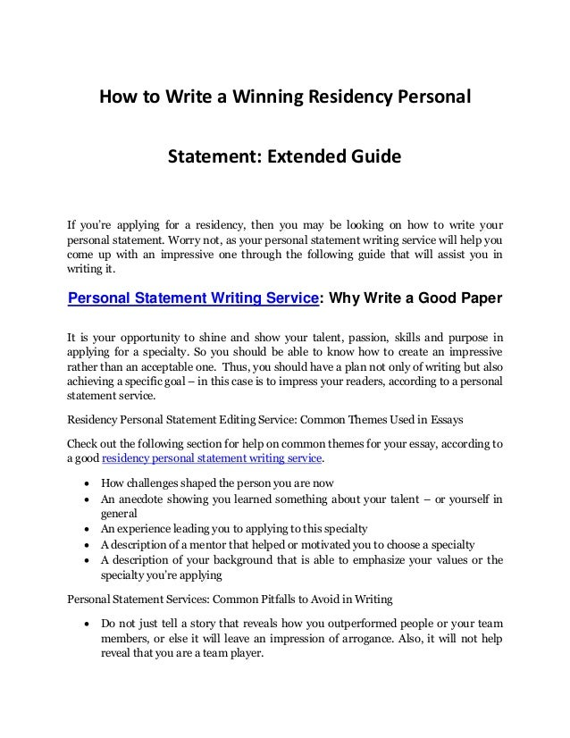 personal statement editing services residency