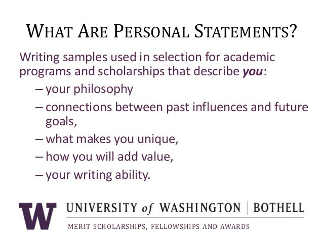 Personal Statement Writing Workshop, Uw Bothell 2013