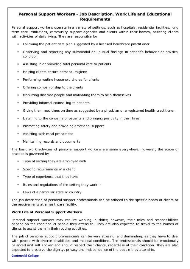 personal support workers job description work life and educational r